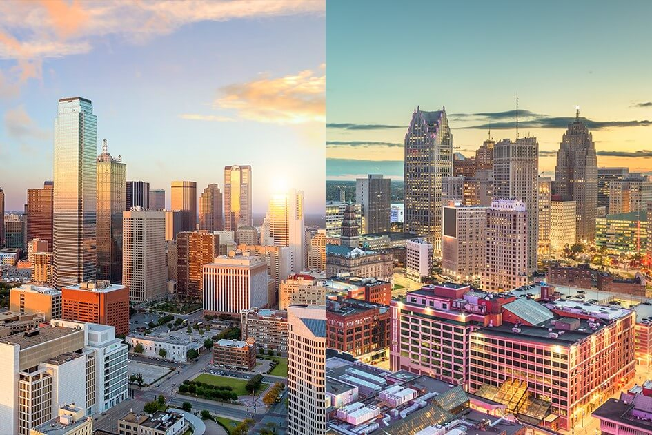 Photograph in two halves. The left hand side shows the Detroit skyline. The photograph on the left shows the Dallas skyline.