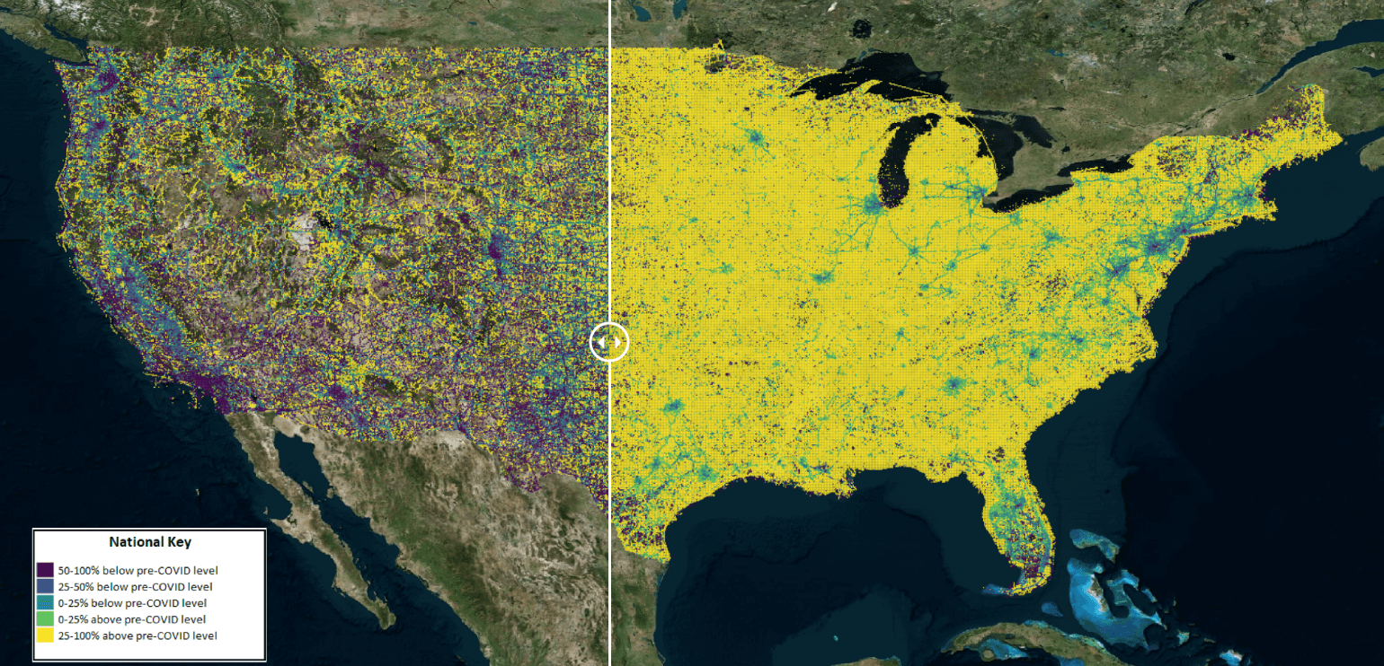 Example of INRIX data visualization on a map of the United States. The image on the left reflects the lower than usual traffic movement at the height of lockdown, while the image on the right shows the impact once lockdowns began lifting.