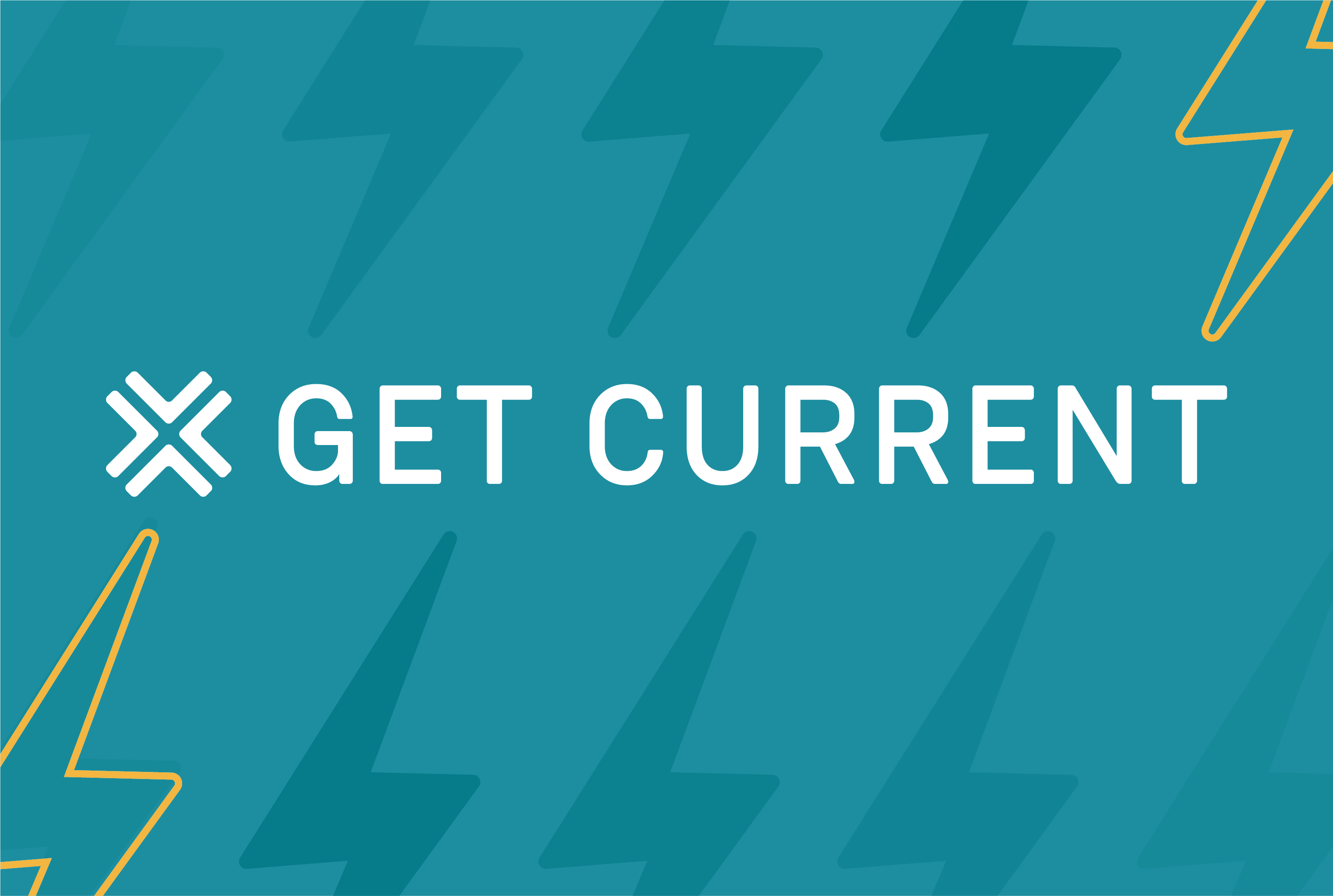 Masthead that says Get Current and has a yellow lightning bolt through it.